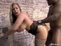 Pretty blonde cougar fucking and sucking!