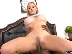 She sucks her pussy juice from his cock and then hops on for a ride both forward and backwards. He fucks her while she is on her back again, driving h