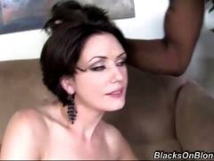 Horny sluty milf always wanted to have threesome with two tough black guys and now she gets her chance.