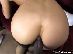 Tough black dude gets really turned on pumping babe's nice white asshole.